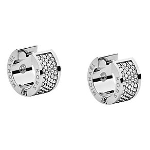 Michael Kors silver tone stone set huggie earrings - Product number 1598244