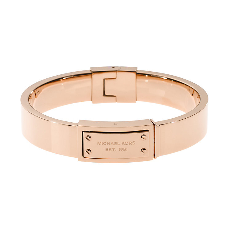 michael kors rose gold plated logo bracelet ernest jones. Black Bedroom Furniture Sets. Home Design Ideas