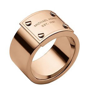 Michael Kors rose gold-plated logo ring size O - Product number 1598333