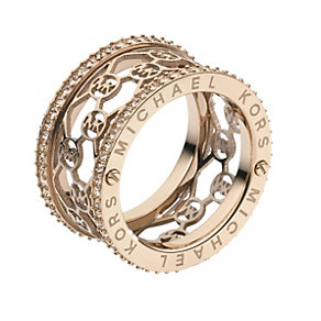 Michael Kors rose gold-plated stone set logo ring size N 1/2 - Product number 1598384