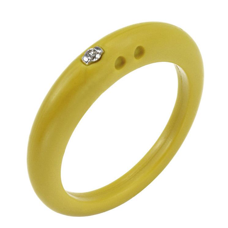Due Punti diamond lemon yellow silicone ring size medium - Product number 1600540