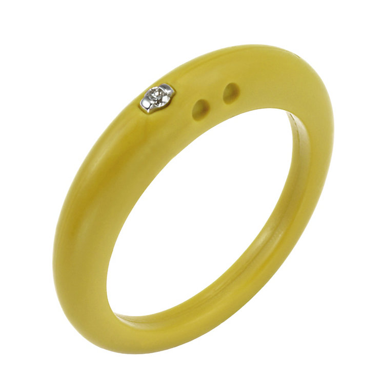 Due Punti diamond lemon yellow silicone ring size large - Product number 1600559