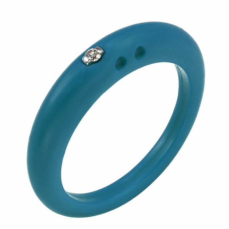 Due Punti diamond teal silicone ring size small - Product number 1600915