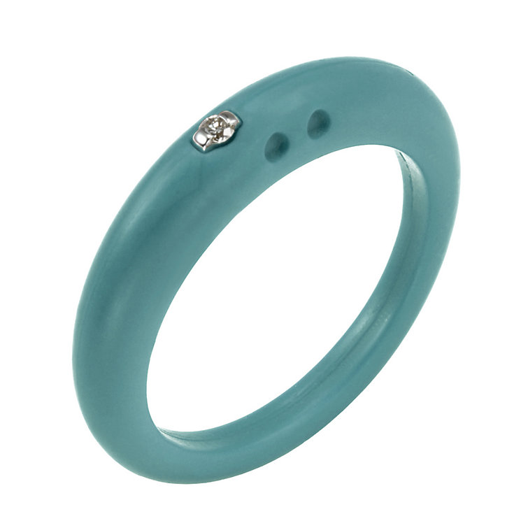 Due Punti diamond apple green silicone ring size medium - Product number 1601024