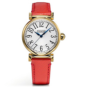 Coach ladies' gold-plated red leather strap watch - Product number 1601032