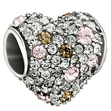Chamilia sterling silver pink Swarovski elements heart bead - Product number 1605011