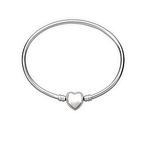 Chamilia sterling silver large oval bangle with heart snap - Product number 1605178