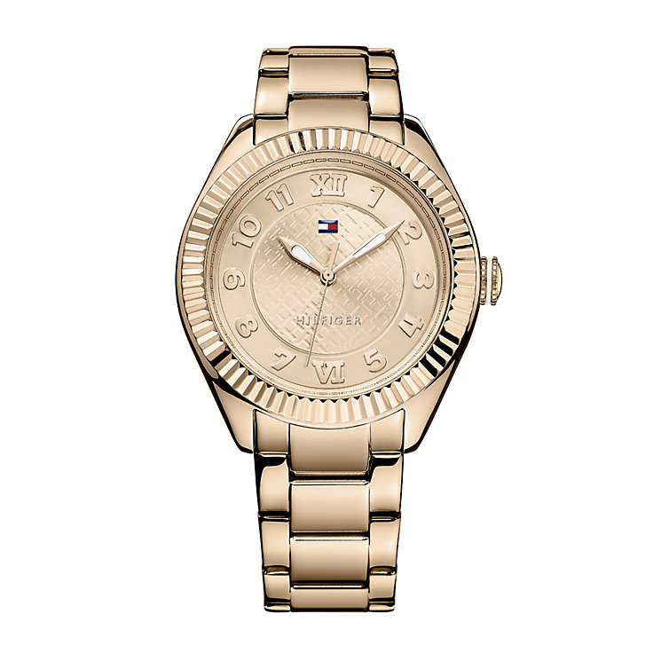 tommy hilfiger ladies 39 rose gold plated bracelet watch h samuel the jeweller. Black Bedroom Furniture Sets. Home Design Ideas