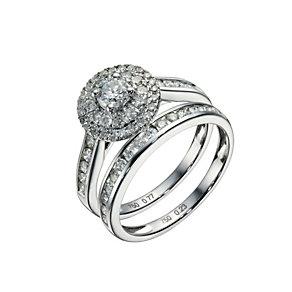18ct white gold one carat diamond double halo bridal set - Product number 1605879