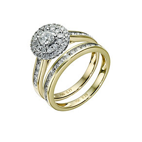 18ct yellow gold one carat diamond double halo bridal set - Product number 1606018