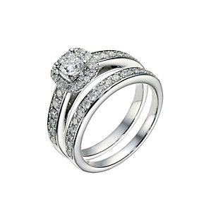 Platinum one carat diamond cushion halo bridal set - Product number 1606158