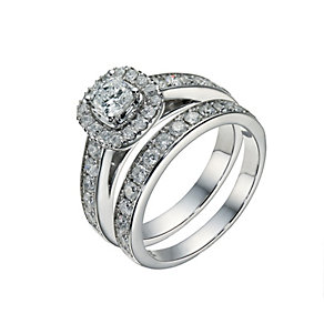 Platinum 1 1/2 carat diamond cushion halo bridal set - Product number 1606271
