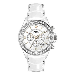 Rotary Ladies' Stainless Steel White Leather Strap Watch - Product number 1609017