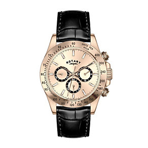 Rotary Men's Rose Gold-Plated Black Leather Strap Watch - Product number 1609033