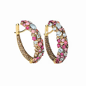 Brumani 18ct gold diamond & multi stone hoop earrings - Product number 1609092