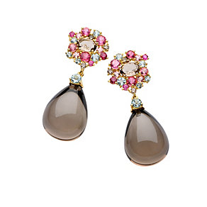 Brumani 18ct gold diamond, quartz & multi stone earrings - Product number 1609106
