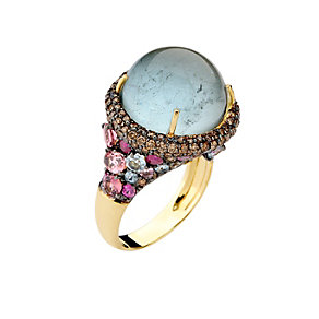 Brumani 18ct gold diamond & aquamarine multi stone ring - Product number 1609181