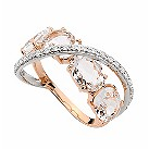 Brumani 18ct rose & white gold diamond & quartz ring - Product number 1609580
