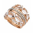 Brumani 18ct rose & white gold diamond & quartz ring - Product number 1609726