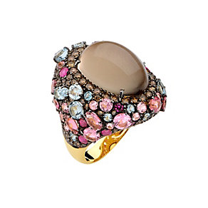 Brumani 18ct gold diamond, smokey quartz & multi stone ring - Product number 1611976