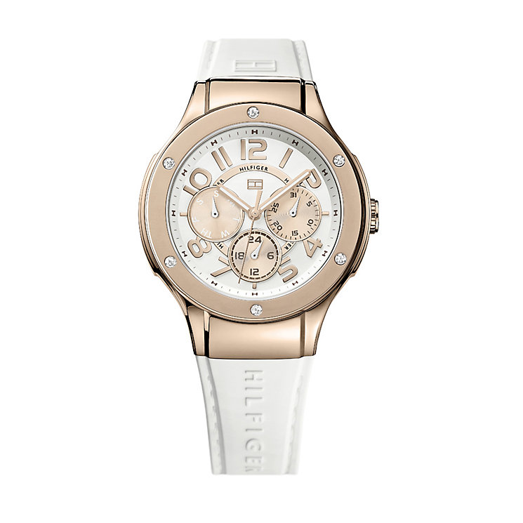 Tommy Hilfiger ladies' rose gold-plated white strap watch - Product number 1619055
