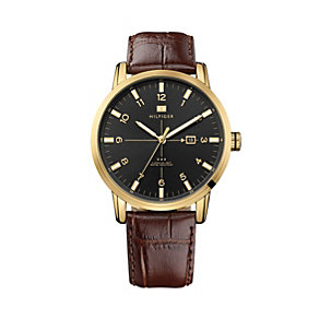 Tommy Hilfiger George men's gold-plated brown strap watch - Product number 1620002
