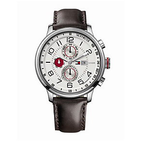Tommy Hilfiger Tyler men's stainless steel brown strap watch - Product number 1620134