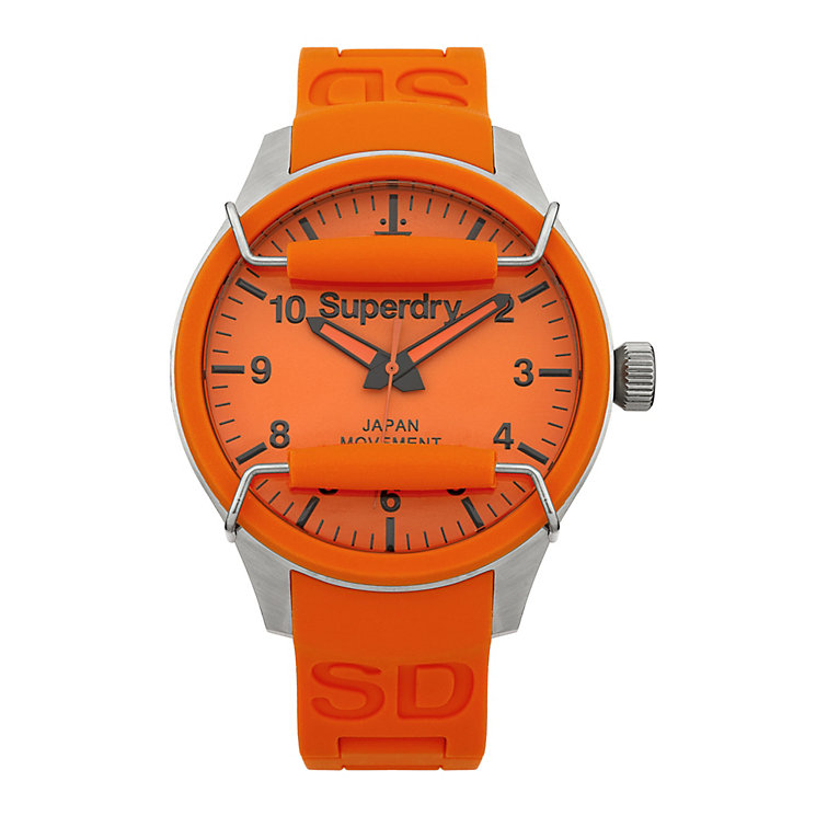 Superdry Scuba Men's Orange Silicone Strap Watch - Product number 1620215