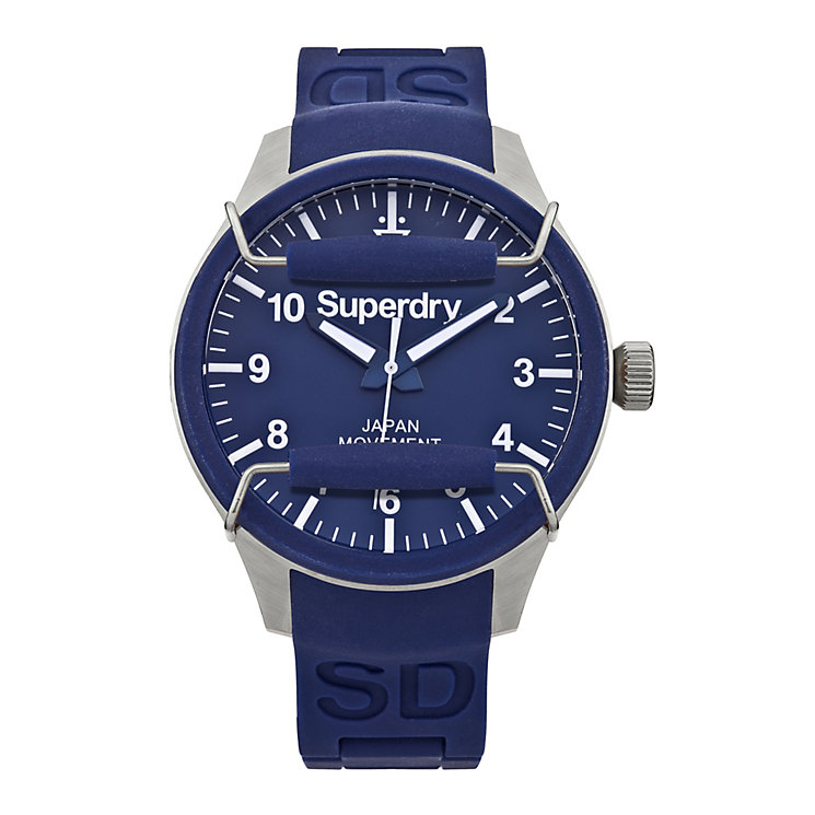 Superdry Scuba Men's Blue Dial Blue Silicone Strap Watch - Product number 1620223