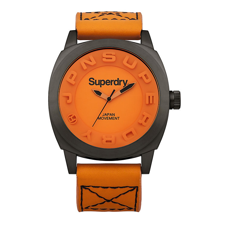 Superdry Sou Wester Men's Orange Neoprone Strap Watch - Product number 1620363
