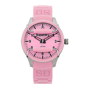 Superdry Scuba Ladies' Light Pink Silicone Strap Watch - Product number 1620487