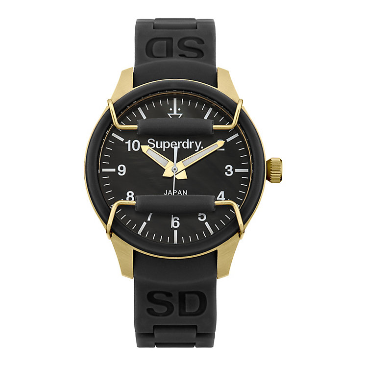 Superdry Scuba Pearl Ladies' Black Silicone Strap Watch - Product number 1620541