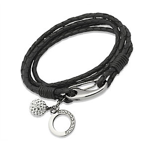 Unique black braided leather charm bracelet - Product number 1622986