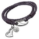 Unique purple braided leather charm bracelet - Product number 1622994