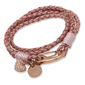 Unique pink braided leather charm bracelet - Product number 1623001