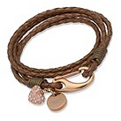 Unique metallic brown braided leather charm bracelet - Product number 1623028