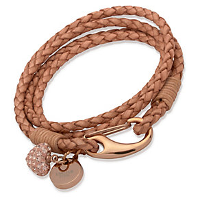 Unique light brown braided leather charm bracelet - Product number 1623044