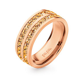 Folli Follie Classy rose gold-plated crystal ring size O 1/2 - Product number 1623583