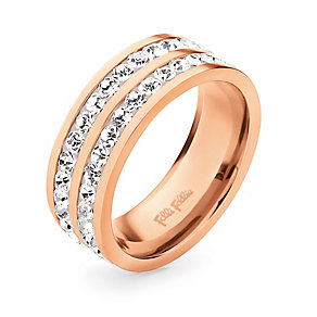 Folli Follie Classy rose gold-plated crystal ring size O 1/2 - Product number 1623648