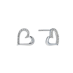 Sterling silver 15 point diamond open heart stud earrings - Product number 1627228