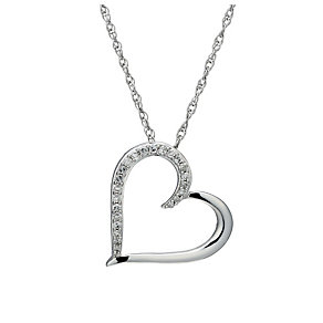 Sterling silver 15 point diamond open heart pendant - Product number 1627236