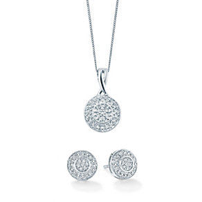 9ct white gold 15 point diamond pendant & stud earrings set - Product number 1627503