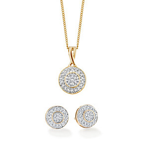 9ct gold 15 point diamond pendant & stud earrings set - Product number 1627627