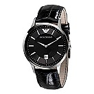 Emporio Armani men's black leather strap watch - Product number 1629220