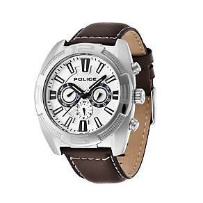 Police Men's Stainless Steel Brown Leather Strap Watch - Product number 1629328