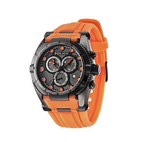 Police Men's Black Ion-Plated Orange Silicone Strap Watch - Product number 1629336