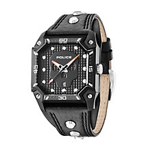 Police Men's Black Skull Dial Black Leather Strap Watch - Product number 1629352