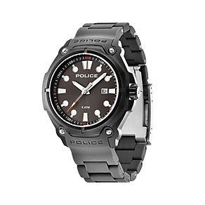 Police Men's Black Ion-Plated Grey Plastic Strap Watch - Product number 1629360