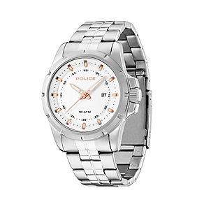 Police Men's White Dial Stainless Steel Bracelet Watch - Product number 1629379