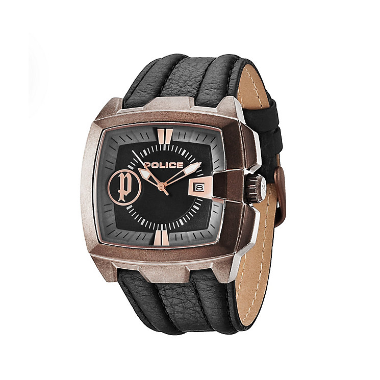 Police Men's Brown Ion-Plated Leather Strap Watch - Product number 1629395